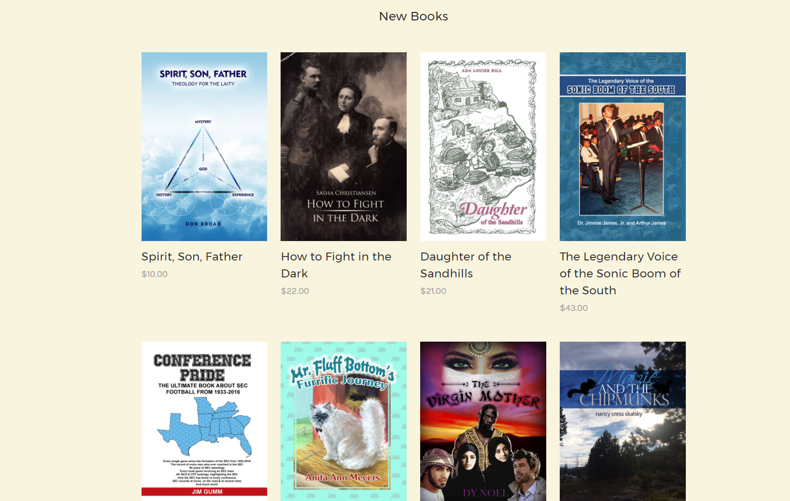 "Screenshot of the Dorrance Publishing Bookstore ""New Releases."""