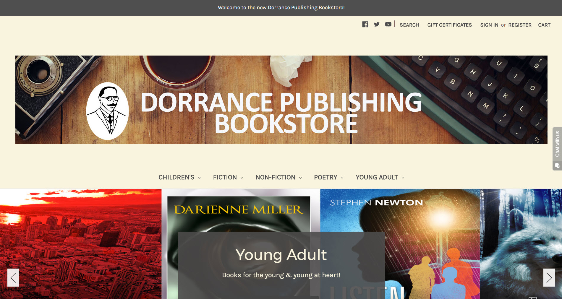 Screenshot of the Dorrance Publishing Bookstore homepage.