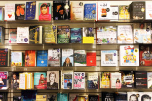 best selling books on a book shelf