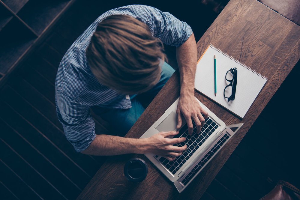 man writer typing